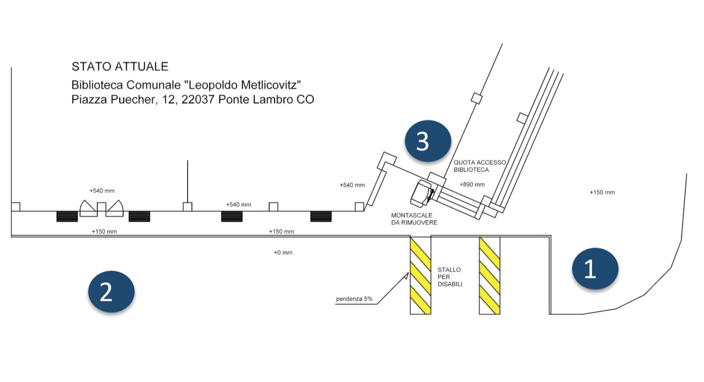 mappa dello stato attuale come barriere architettoniche della biblioteca Comunale Leopoldo Metlicovitz