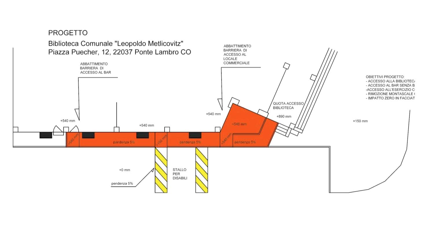 mappa del progetto per abbattere le barriere architettoniche della biblioteca Comunale Leopoldo Metlicovitz