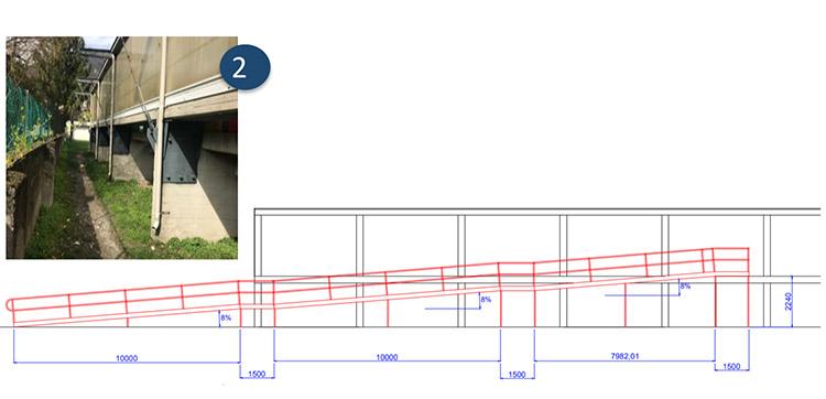 mappa del progetto per abbattere le barriere architettoniche nel L'ingresso al campo e il completamento del bagno accessibile al campo sportivo di ponte lambro