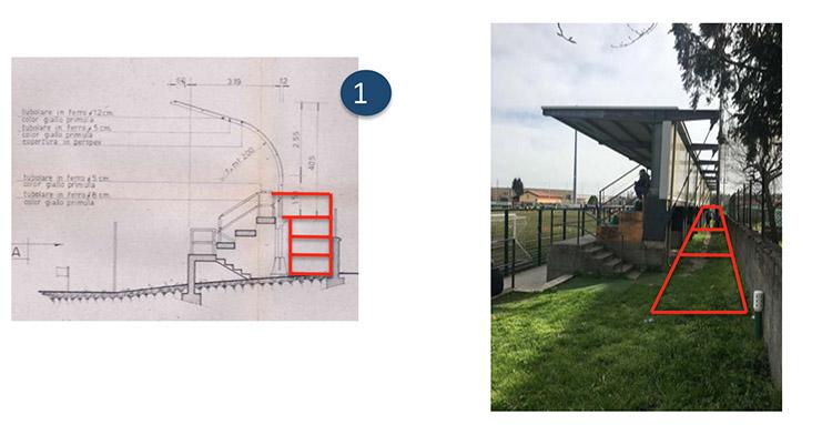 mappa del progetto per abbattere le barriere architettoniche nella Tribuna del campo sportivo